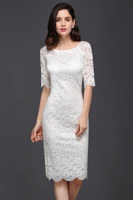 Lace Sleeve Short Knee-length Fashion Ivory Jewel Evening Dresses_1