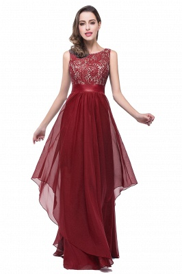 ADDISON | Affordable A-line Floor-length Chiffon Evening Dress with Lace_1