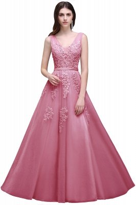 ADDYSON   A-line Floor-length Tulle Bridesmaid Dress with Appliques_4