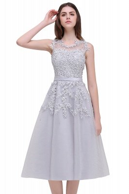 EMORY | Crew Tea Length Lace A-Line Appliques Short Prom Dresses_16