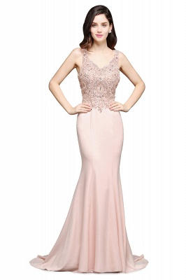 ALLYSON | Mermaid V-Neck Pearl Pink Prom Dresses with Beads_1