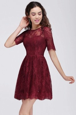 Cheap A-Line Round Neck Short Lace Burgundy Homecoming Dress in Stock_5