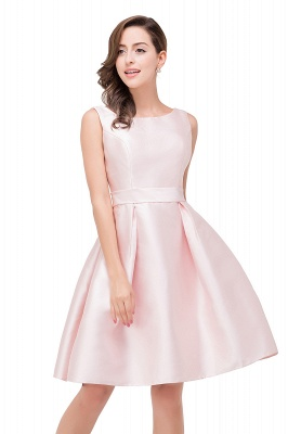 Sleeveless Knee-length Simple Scoop-neck Short with-Belt Prom Gown_2