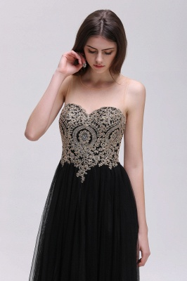 Black Tulle Long A-line Prom Dress with Appliques In Stock_8
