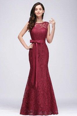 Lace Sleeveless Mermaid Bowknot-Sash Floor-Length Burgundy Prom Dresses_1