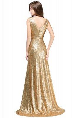Cheap Elegant A-line Open Back Sequins Sleeveless V-neck Evening Dress in Stock_4