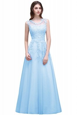 Cheap A-line Floor-length Tulle Prom Dress with Appliques in Stock_5