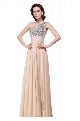 Cheap A-line Floor-length Chiffon Evening Dress with Sequined in Stock_5