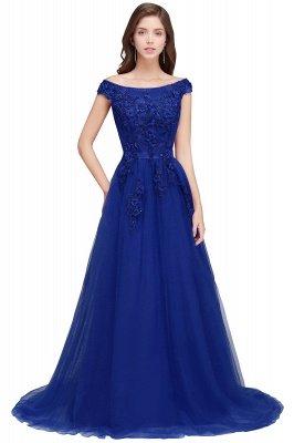 EMBER   A-line Off-shoulder Floor-length Tulle Appliques Prom Dresses_2