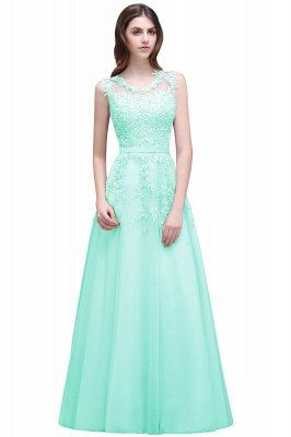 Cheap A-line Floor-length Tulle Prom Dress with Appliques in Stock_9