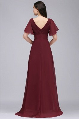 COLETTE | A-line Floor-length Chiffon Burgundy Prom Dress with Soft Pleats_8