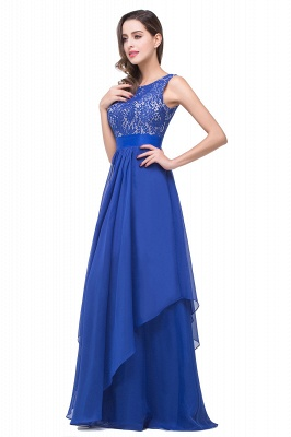 ADDISON | Affordable A-line Floor-length Chiffon Evening Dress with Lace_8