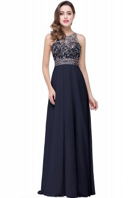 Cheap A-line Jewel Chiffon Prom Dress with Beading in Stock_4