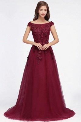 EMBER   A-line Off-shoulder Floor-length Tulle Appliques Prom Dresses_8