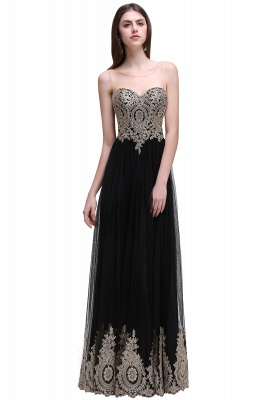 Black Tulle Long A-line Prom Dress with Appliques In Stock_4