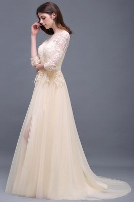 Champagne Scoop-Neckline Three-quarter-Sleeves Lace-Appliques Prom Dress_6