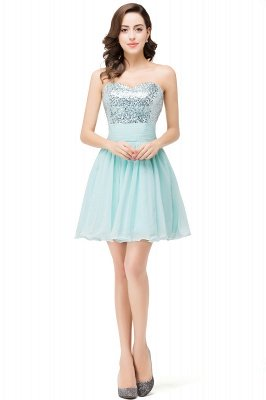 Ruffled Strapless Short Cute  Bridesmaid Sequined Prom Dress_1