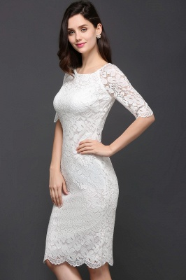Lace Sleeve Short Knee-length Fashion Ivory Jewel Evening Dresses_10