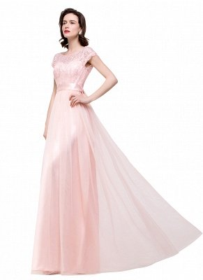 ELLIANA | Elegant Short Sleeves A-line Chiffon Bridesmaid Dresses with Ribbon Bow Sash_10