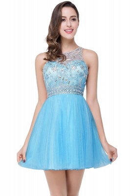 ELISA | A-line Crew Sleeveless Tulle Short Prom Dresses with Beadings_4