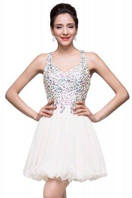 Cheap Chic Crisscross-straps Crystal Beads Ruffle Chiffon Sweetheart Short Prom Dress in Stock_1