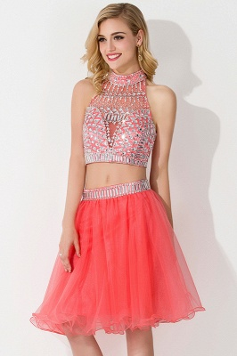 Cheap Sexy Crystal Beads Tulle Sleeveless Two-piece Short Prom Dress in Stock_5
