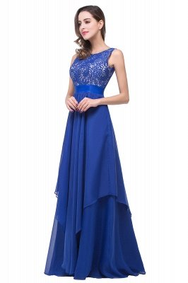 ADDISON | Affordable A-line Floor-length Chiffon Evening Dress with Lace_7