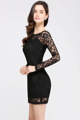 Lace Sheath Sexy Black Homecoming Dresses with Long Sleeves_11