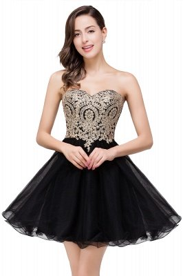 Gabriela | A Line Lace Appliques Sweetheart Short Prom Dresses_8