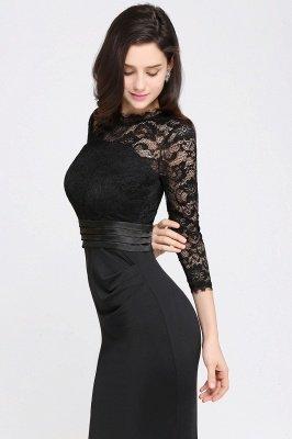 ARIANNA | Sheath High Neck Black Elegant Evening Dresses with Lace_10