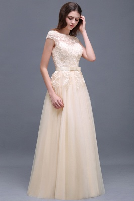 Champagne Evening  Prom Off-the-shoulder Floor-Length with-Belt Lace-Appliques Party Dress_8