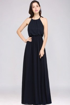 Dark Navy Halter Chiffon Sleeveless Bridesmaid Dresses | Cheap Wedding Guest Dresses