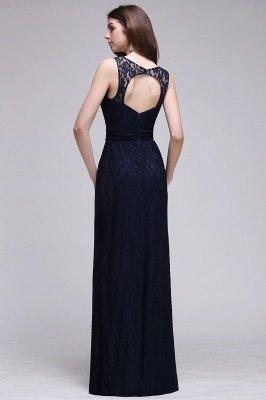 Simple Dark Navy Lace Bridesmaid Dresses Sleeveless Sheath Long Prom Dresses_3