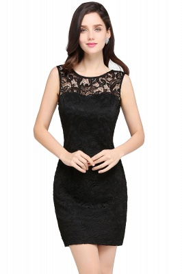ARYA | Cheap Sheath Scoop Black Lace Homecoming Dresses | Sexy Short Prom Dresses_6