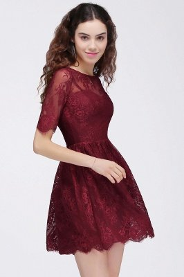 Cheap A-Line Round Neck Short Lace Burgundy Homecoming Dress in Stock_6
