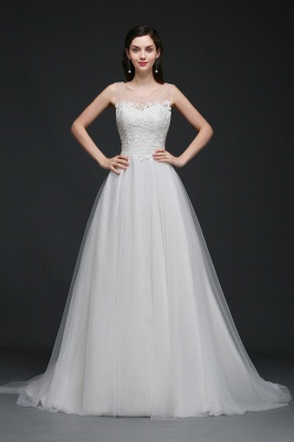 A-line Scoop Tulle Elegant Wedding Dress With Lace_1