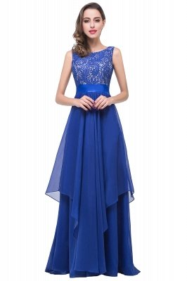ADDISON | Affordable A-line Floor-length Chiffon Evening Dress with Lace_5
