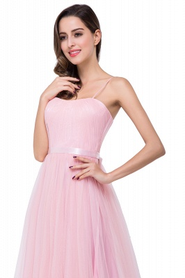 A-line Sweetheart Floor-length Pink Tulle Ruffles Cheap Bridesmaid Dresses_12