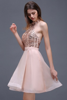 ALAYAH | A Line Halter Organza Short Homecoming Dresses With Sequins_5