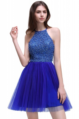 CAITLYN   A-line Halter Neck Short Tulle Royal Blue Homecoming Dresses with Beading_2