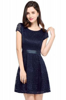 ARMANI | A-line Scoop Black Cheap Lace Homecoming Dress with Sash |_5