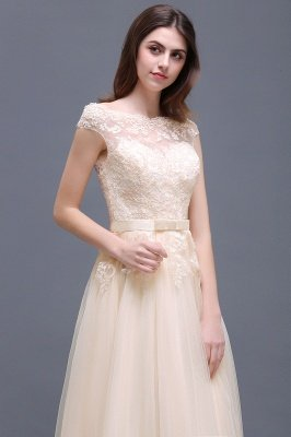 Champagne Evening  Prom Off-the-shoulder Floor-Length with-Belt Lace-Appliques Party Dress_15