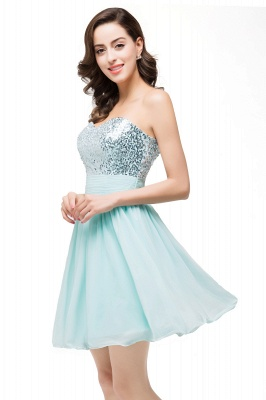 Ruffled Strapless Short Cute  Bridesmaid Sequined Prom Dress_4