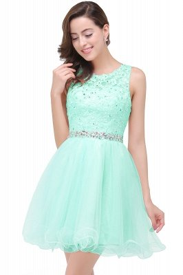 A-line Knee-length Tulle Cheap Prom Dress with Appliques&Crystal