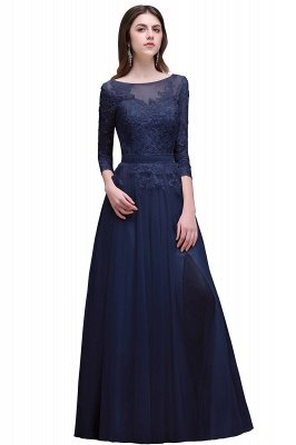 Champagne Scoop-Neckline Three-quarter-Sleeves Lace-Appliques Prom Dress_3