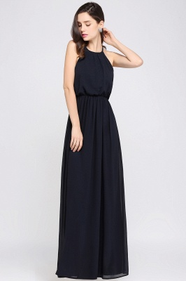 Dark Navy Halter Chiffon Sleeveless Bridesmaid Dresses | Cheap Wedding Guest Dresses_11