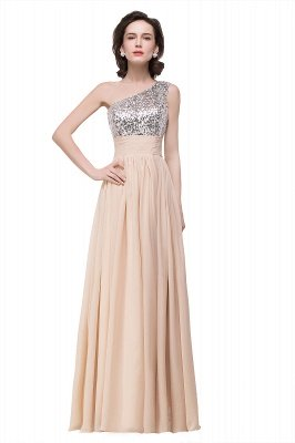 Cheap A-line Floor-length Chiffon Evening Dress with Sequined in Stock_1