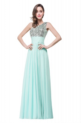 Cheap A-line Floor-length Chiffon Evening Dress with Sequined in Stock_2