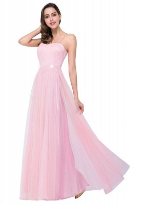 A-line Sweetheart Floor-length Pink Tulle Ruffles Cheap Bridesmaid Dresses_10