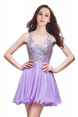 Cheap Chic Crisscross-straps Crystal Beads Ruffle Chiffon Sweetheart Short Prom Dress in Stock_2